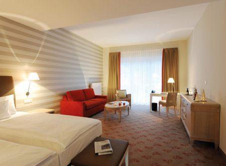 Eins der Zimmer im Romantikhotel Sanct Peter